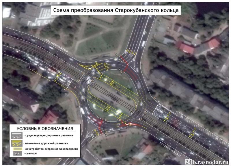 Схема движения по обновленому Старокубанскому кольцу в Краснодаре