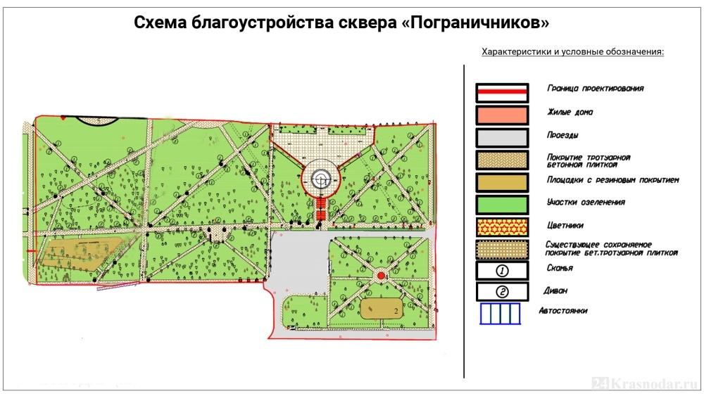 Схема сквера Пограничников в Краснодаре