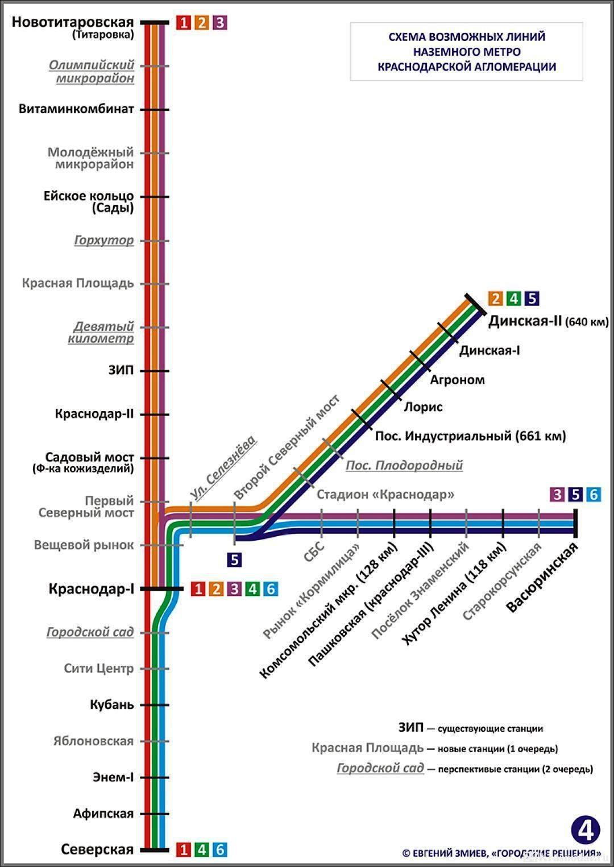 Схема наземного метро в Краснодаре
